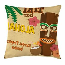 Ambesonne Tiki Bar Decor Throw Pillow Cushion Cover, Polynes