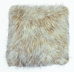 """Balmont Collection Tipped Faux Fur Accent Pillow, 20"""" x 20"""","""