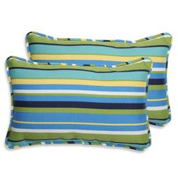Pillow Perfect Outdoor Topanga Stripe Lagoon Rectangular Thr