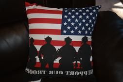 "Toss Throw Pillows 16"" x 16"" Support Our Troops American Fla"