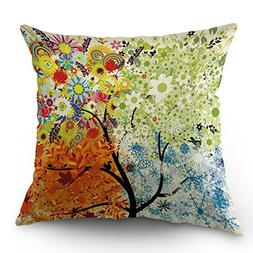 Moslion Tree Pillow Case Four Seasons Spring Summer Autumn W