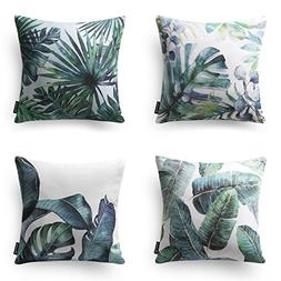 Phantoscope Set of 4 Tropical Green Leaves Throw Pillow Case