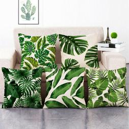 Tropical Leaf Plant Green Leave Sofa Throw Pillow Case Linen