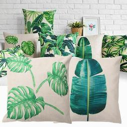 Tropical Plants Leaves Linen Throw Pillow Case Cushion Cover