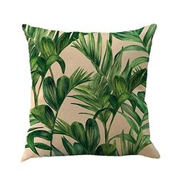 18 X 18 Inch Tropical Tree Leaves Print Cotton Linen Decorat