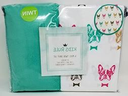 Kids Rule 4 Piece Twin Sheet Set - French Bull Dogs in Bow T