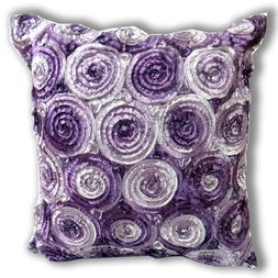 ''ENJOY SMILE '' Two Tone 3d Bouquet of Purple Roses Throw C