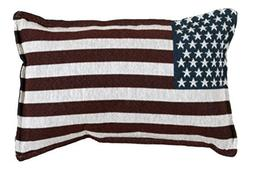 "Set of 2 U.S. American Flag Decorative Throw Pillows 9"" x 12"
