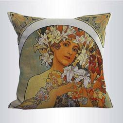 US SELLER- Alphonse Mucha The Flower cushion cover throw pil