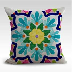 US SELLER set of 4 indigenous Huichol Mexico art cushion covers living accents