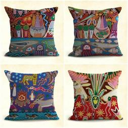 US SELLER, set of 4 cheap throw pillow covers Huichol Mexica