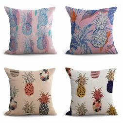 set of 4 pipeapple tropical plants throw pillows covers for