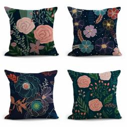 US SELLER- set of 4 rose flower cushion covers throw pillow