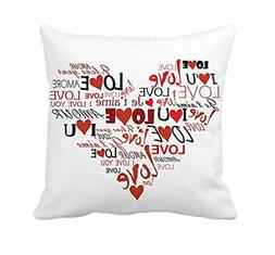 4TH Emotion Valentine's Day Throw Pillow Cover Cotton Polyes