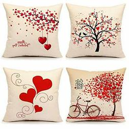 valentine s day throw pillow cover red