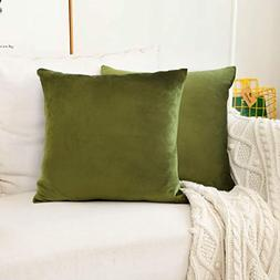 HOME BRILLIANT Set of 2 Velvet Accent Throw Pillow Covers Cu