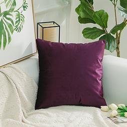 HOME BRILLIANT Solid Velvet Square Cushion Covers Case Decor