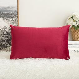 MIULEE Velvet Soft Soild Decorative Square Throw Pillow Cove
