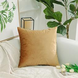 HOME BRILLIANT Velvet Square Large Throw Pillow Cover Euro S