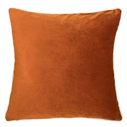 Homey Cozy Velvet Throw Pillow Cover,Orange Series Basic Sol