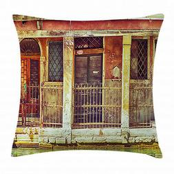 Venice Throw Pillow Case Aged Italian Building Square Cushio