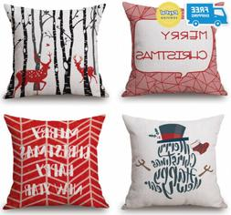 BLUETTEK Vibrant Red Christmas Throw Pillow Covers Set of 4,