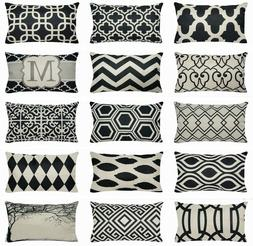 """12x20"""" Vintage Black Geometric Throw PILLOW COVER Bed Couch"""