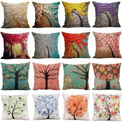 Vintage Floral Pillows Case Throw Cotton Linen Cushion Cover