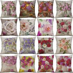 Vintage Flower Cotton Linen Cushion Cover Throw Pillow Case
