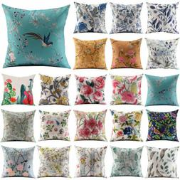 Vintage Flower Cotton Linen Throw Pillow Case Sofa Cushion C