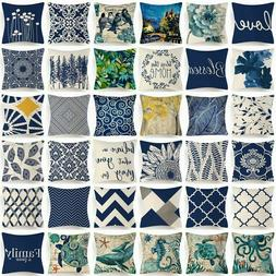 Throw PILLOW COVER Navy Blue Linen Retro Decorative 2-Sided