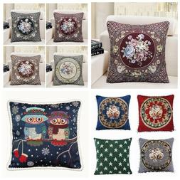 Vintage Jacquard Floral Decorative Throw PILLOW COVER Sofa C