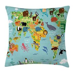 Ambesonne Wanderlust Throw Pillow Cushion Cover, Animal Map