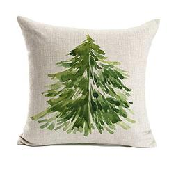 4TH Emotion Watercolor Christmas Tree Throw Pillow Cover Cus