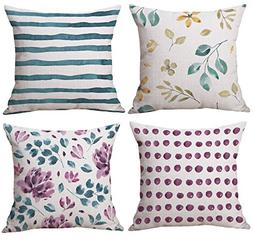 BLUETTEK Watercolor Floral Decorative Pillow Case Cover Set
