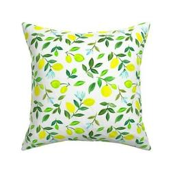 Watercolor Lemons Kitchen Home Throw Pillow Cover w Optional