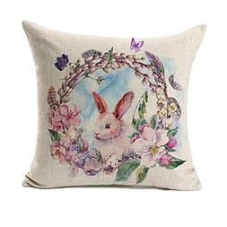 Watercolor Spring Happy Easter Wreath Rabbit Throw Pillow Co