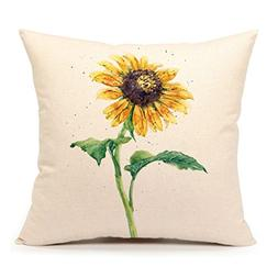 4TH Emotion Watercolor Sunflower Yellow Home Decorative Thro