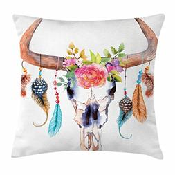 Ambesonne Watercolor Throw Pillow Cushion Cover, Bull Skull