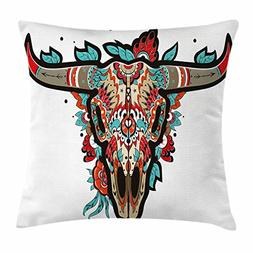 Ambesonne Western Throw Pillow Cushion Cover, Buffalo Sugar