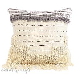 "20"" White Black Woven Tufted Tassel Pillow Wool Embroidered"