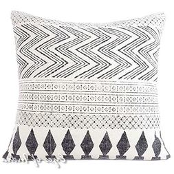 "Eyes of India - 28"" White & Black Dhurrie Printed Cushion So"