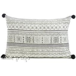 Eyes of India 16 X 24 White Black Hmong Couch Bolster Long L
