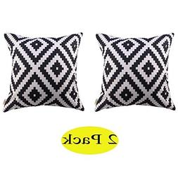 White and black Polyester Home Decorative Accent Throw Pillo