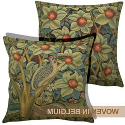 William Morris Tapestry Throw Pillow Cover Belgian Woodpecke