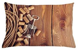 Ambesonne Winery Throw Pillow Cushion Cover, Wine Corks Rust