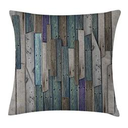 Ambesonne Wooden Throw Pillow Cushion Cover, Blue Grey Grung