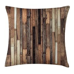 Ambesonne Wooden Throw Pillow Cushion Cover, Brown Old Hardw