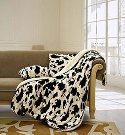 "The Woods Luxury 3pc Set Cow White Sherpa 50""x70"" Fleece Bla"