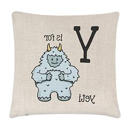 hiusan Letter Y Is For Yeti Linen Throw Pillow Covers Linen